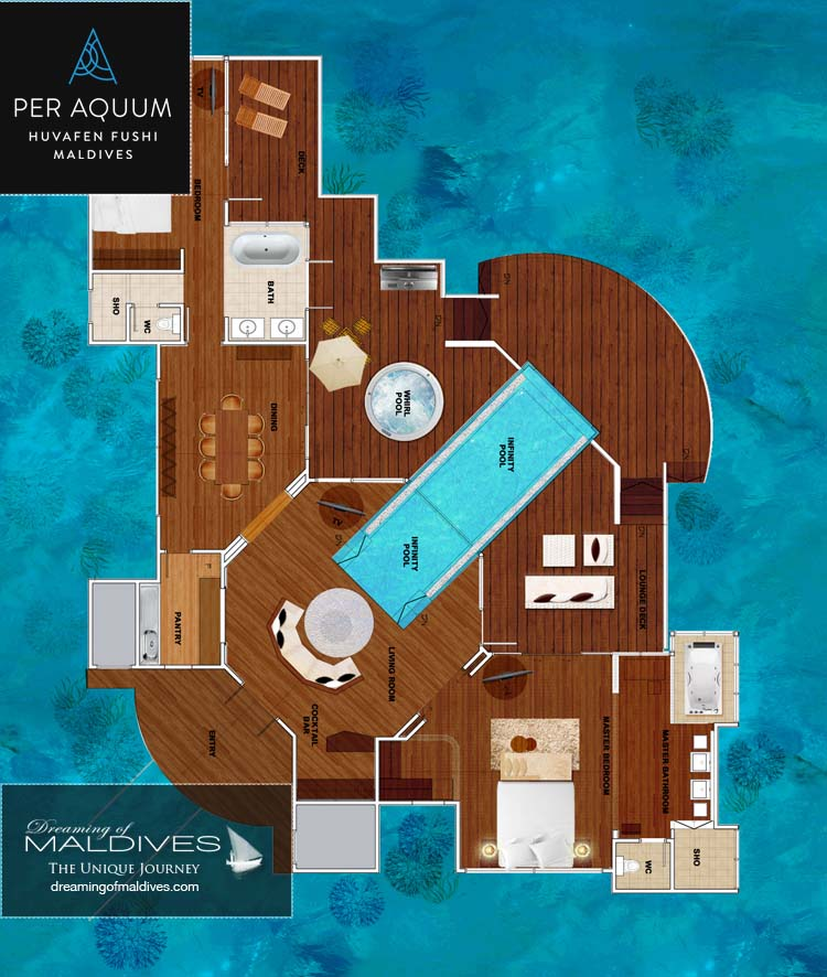 Huvafen Fushi Maldives Two Bedroom Ocean Pavilions with Pool Floor plan