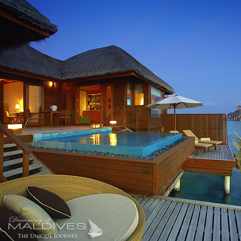 Huvafen Fushi Maldives best Moment and Place Listen to high quality Music on your private Terrace watching the Ocean