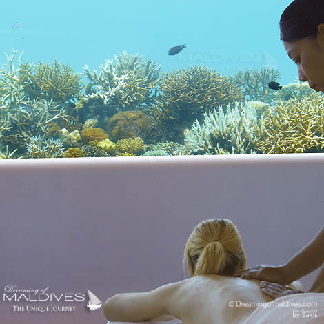 Huvafen Fushi Maldives Spa Treatments for the Body. Massage Underwater Spa