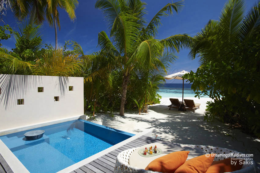 Huvafen Fushi Maldives Deluxe Beach Bungalows with Plunge-Pool