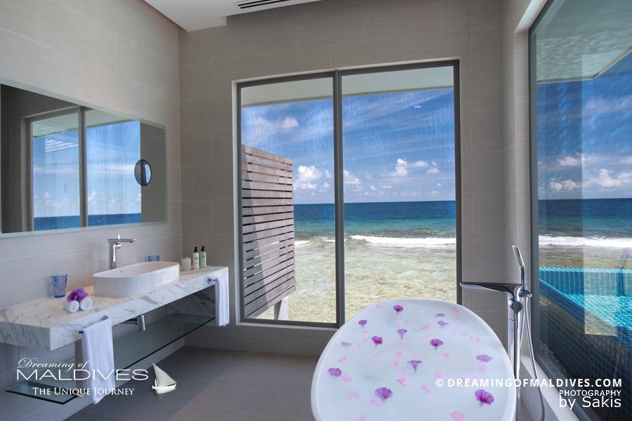 Kandima Maldives Ocean Pool Villa Bathroom with a view