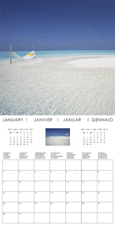 2012 Maldives Wall Calendar . January Month