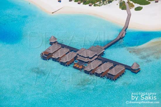 Anantara Dhigu Maldives aerial view spa