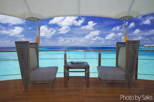 The lighthouse bar Baros Maldives with lagoon view