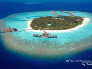Aerial Photo Anantara Kihavah Maldives Island resort