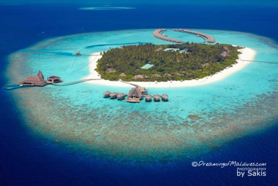 An aerial View of the splendid Anantara Kihavah Villas Maldives