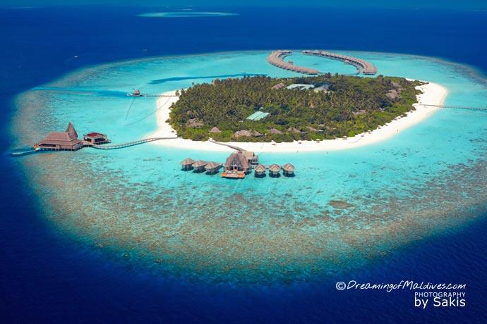 Aerial Photo Anantara Kihavah Maldives Island resort