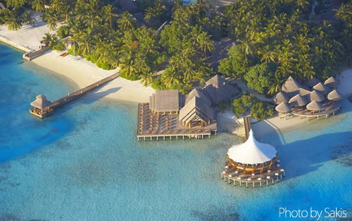 Aerial photo of the Lighthouse at Baros Maldives