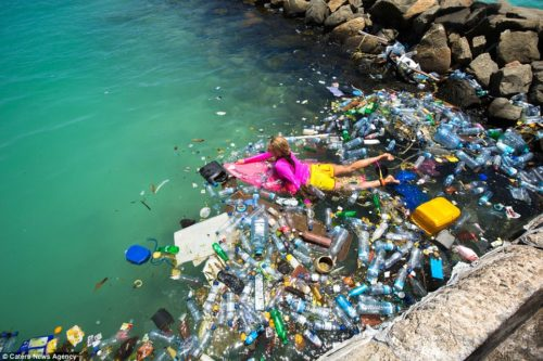 Plastic bottles, bags and other polluting rubbish floating in Maldives