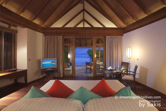Anantara Dhigu Maldives Sunset Beach Villa with lagoon view