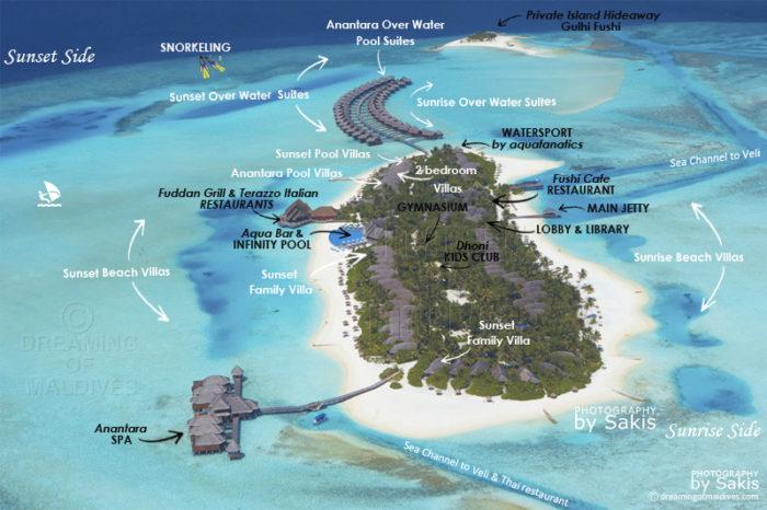 Anantara Dhigu Maldives Resort Aerial Map