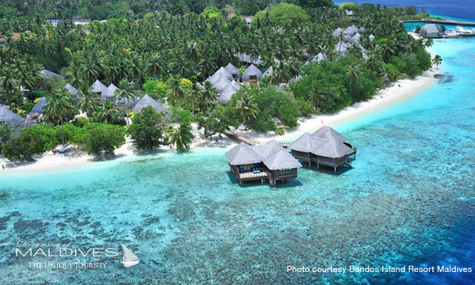 Bandos Maldives Best Resort for snorkeling in Maldives.Aerial view