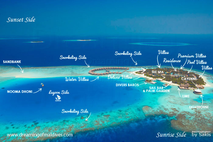 Baros Maldives Resort Aerial Map