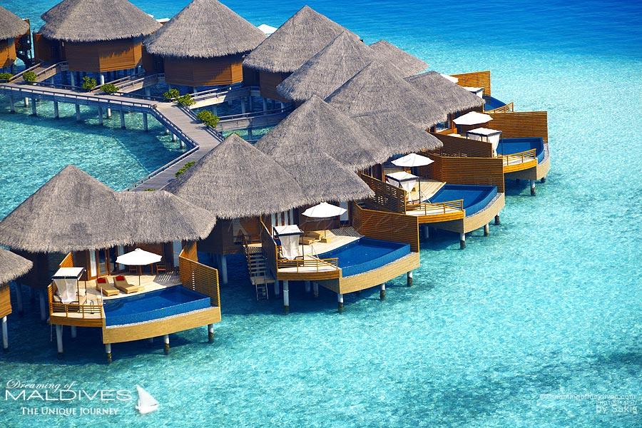 Baros Maldives Water Pool Villa Aerial View