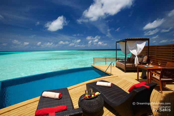 View over the lagoon from the New Pool Water Villas at Baros Maldives