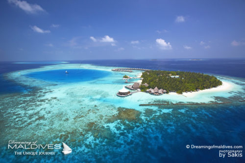 Baros Maldives Best Resort for snorkeling in Maldives.Aerial view (The Best Maldives Resorts for Snorkeling we've seen & a Small Guide to Snorkeling)