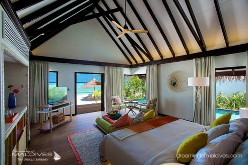 OZEN at Maadhoo. View from a Beach Villa bedroom (OZEN The Ultra Luxury All Inclusive Resort Opening Soon in Maldives)