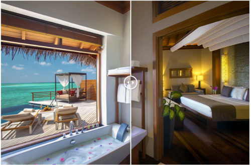Water Villa with a View. Baros Maldives. Before and At Sunset