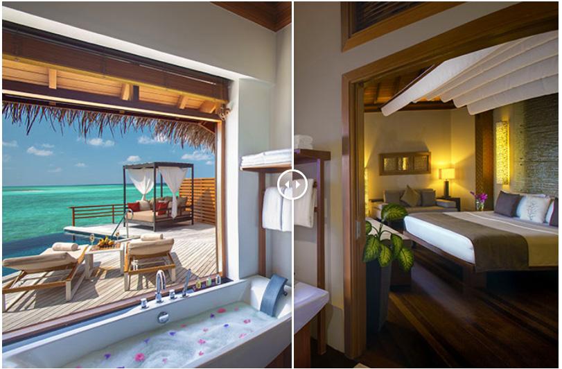Water Villa with a View. Baros Maldives. Before and At Sunset