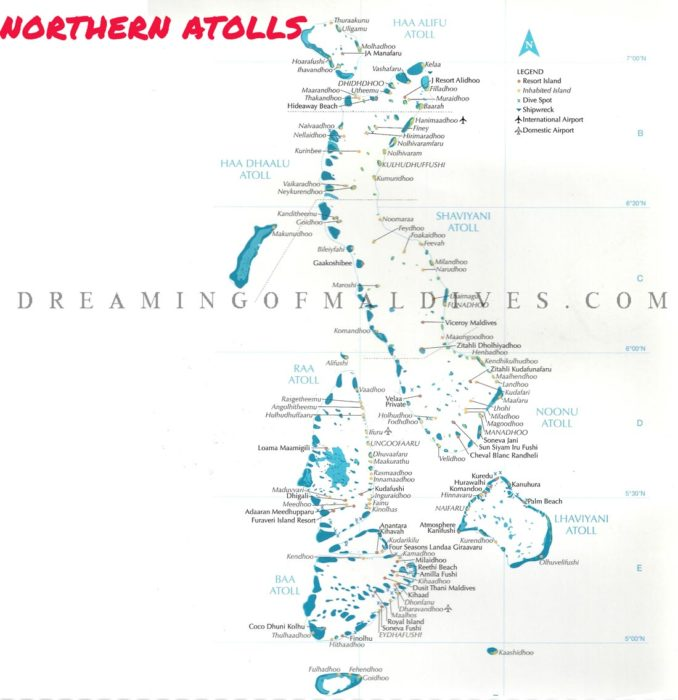 Maldives Map showing Northern Atoll With All Resorts, Key Islands and Airports