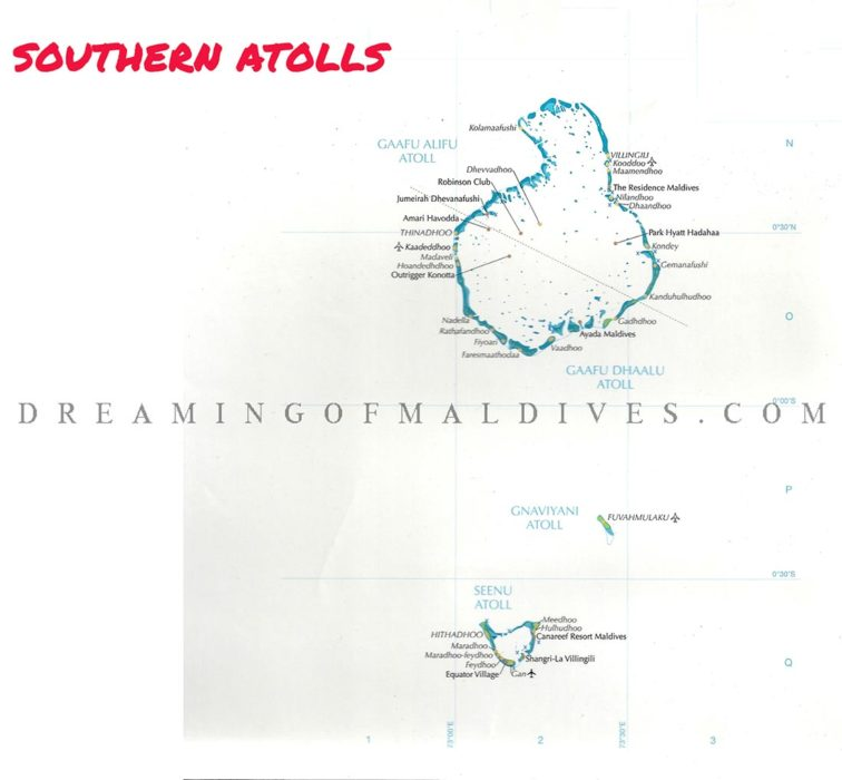 Maldives Map showing South Atolls With All Resorts, Key Islands and Airports