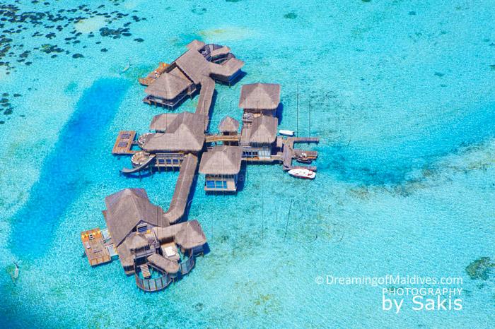 The Private Reserve at Gili Lankanfushi Maldives, the World's biggest Water Villa, aerial photo