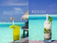 Mojito Coco or Daiquiri Spicy. Cocktail Time at Gili Lankanfushi Maldives !
