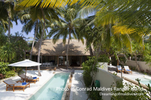 Conrad Maldives Rangali Island – Exterior View of the Beach Suites private gardens and pools (Good News : Conrad Maldives unveils new Beach Suites Ideal for Families)