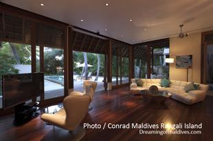 Conrad Maldives Rangali Island. Beach Suites - The Living-Room