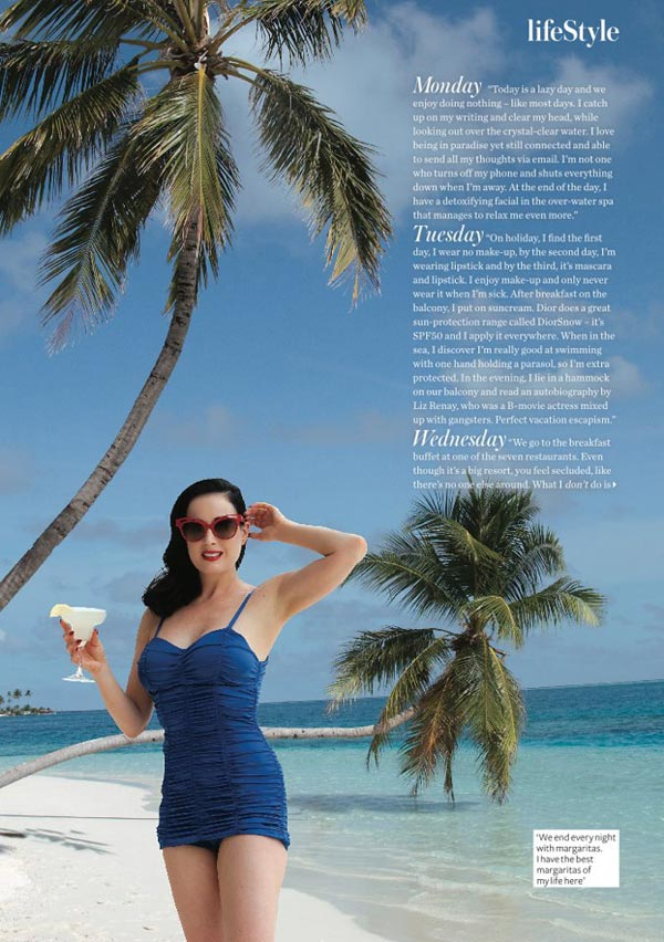 Dita Von Teese in Maldives at Conrad Maldives Rangali Island