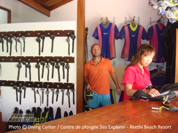 Sea Explorer Diving Centre Welcome Desk - Reethi Beach Resort Maldives Baa Atoll