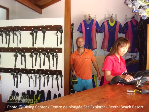 Sea Explorer Diving Centre Welcome Desk - Reethi Beach Resort Maldives Baa Atoll