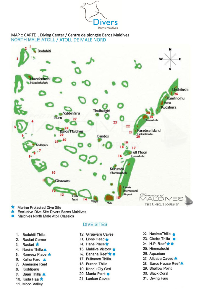 North Male Atoll Diving Site Map from Baros Maldives