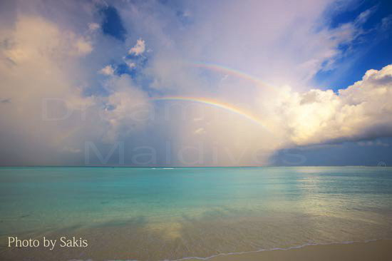 Photo of a double rainbow in Maldives