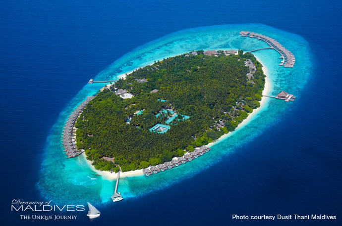 Dusit Thani Maldives Best Resort for snorkeling in Maldives.Aerial view