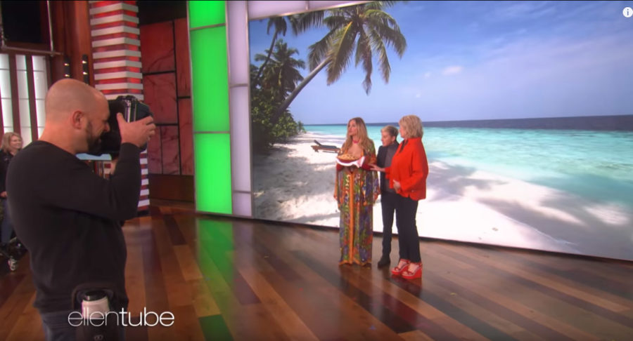 Ellen DeGeneres helps Julia Roberts have more Instagram followers with our Maldives video playing in the background
