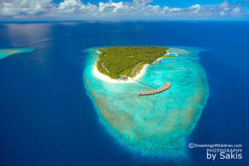 Aerial view Filitheyo Resort Maldives