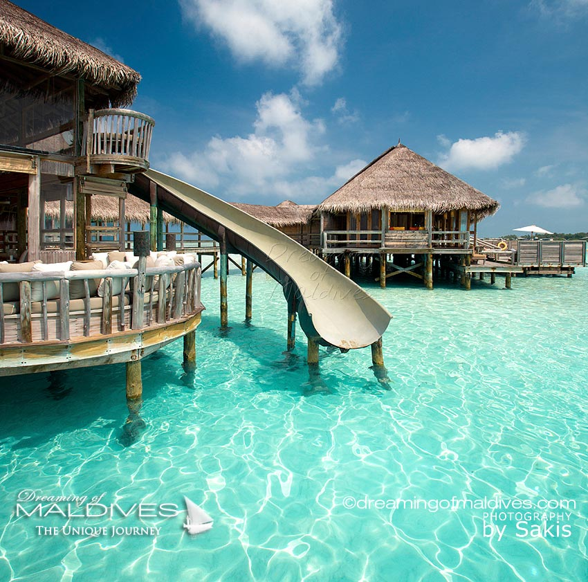 Dreamy Places in Maldives. Giant Water Slide at Gili Lankanfushi Private Reserve