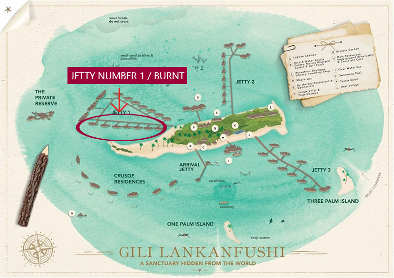Map of Gili Lankanfushi showing the location of the starting fire. Jetty 1