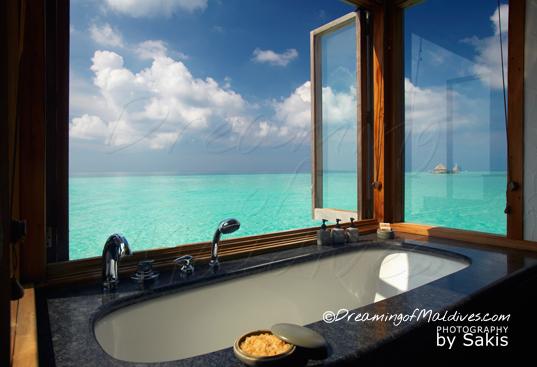 Gili Lankanfushi Maldives The Water Villa amazing bath with lagoon view