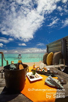 Gili Lankanfushi Maldives - In Villa Dining on the Deck