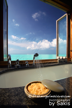 Gili Lankanfushi Maldives - Water Villa Bathroom with a Dreamy View