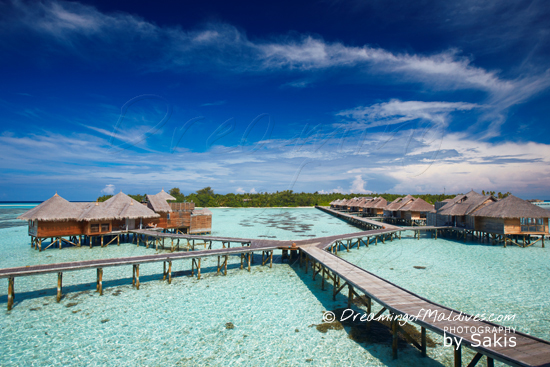 Gili Lankanfushi Maldives - A Residence on the left and the Villa Suites on the right