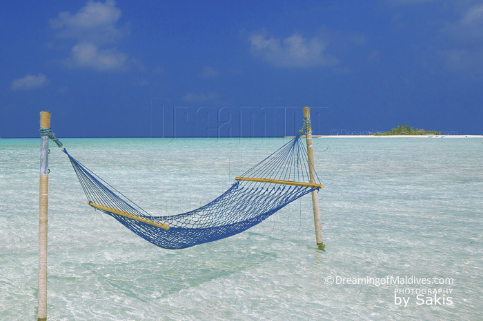 Hammock in the lagoon. Maldives