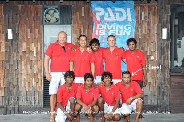 Saeed and his team at Hilton Maldives Iru Fushi Dive Center