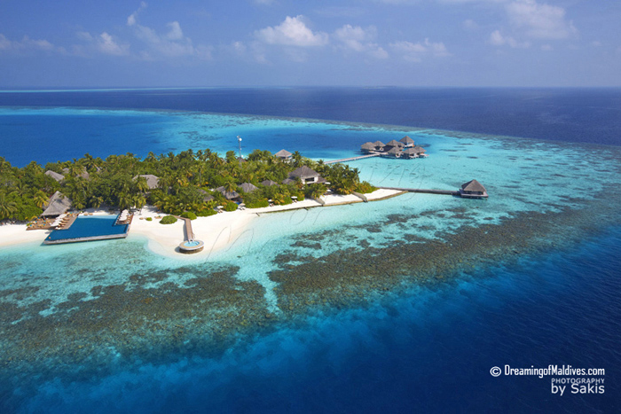 Huvafen Fushi Aerial View - The Island and the beautiful Reefs