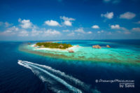 Aerial photo of Huvafen Fushi Maldives
