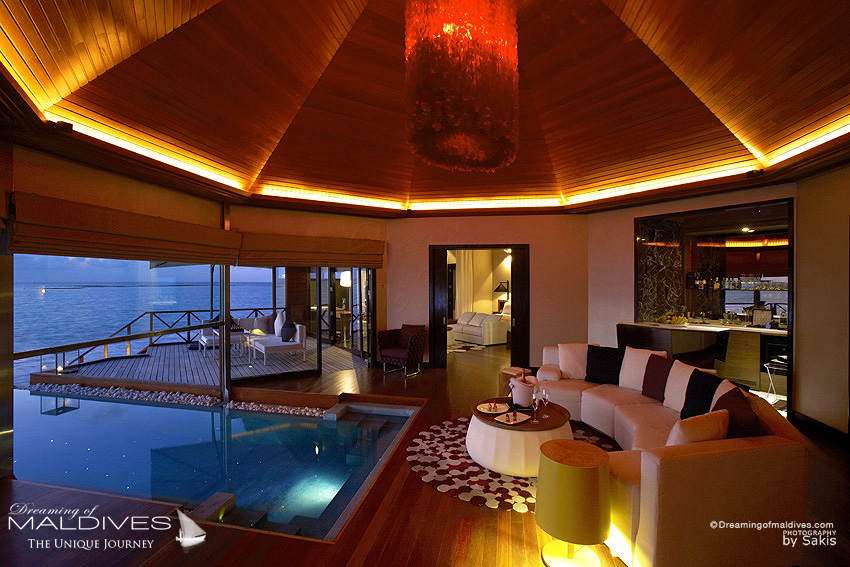 Huvafen Fushi Maldives Best Maldives Water Villa - Ocean Pavilion - The Living Room with the infinity Pool spreading In and Out