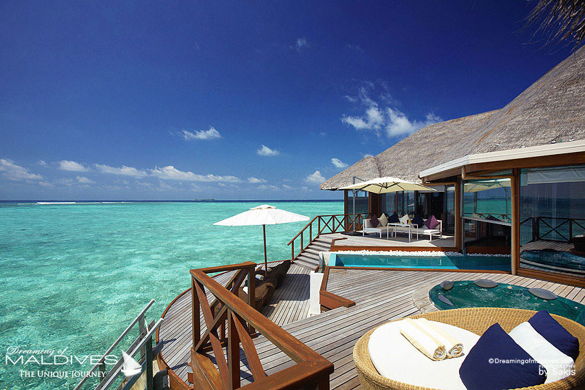 Huvafen Fushi Maldives Best Maldives Water Villa - Ocean Pavilion - The Deck with Infinity Pool and Jacuzzi