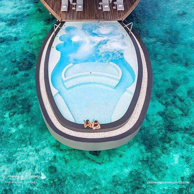 The Blue Hole Pool at  Iridium Spa at St Regis Vommuli Maldives